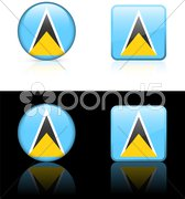 Saint Lucia Flag Buttons on White and Black Background Stock Illustration