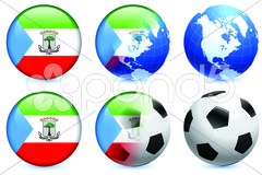 Equatorial guinea Flag Buttons on White and Black Background Stock Illustration