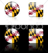 Maryland Flag Icon on Internet Button Stock Illustration