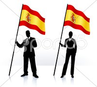Business silhouettes with waving flag of Spain - stock illustration