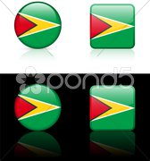 Guyana Flag Buttons on White and Black Background Stock Illustration