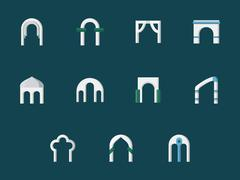 Arch types flat color vector icons Stock Illustration