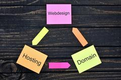 Webdesign Hosting Domain connected notes Stock Photos
