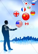Businessman Leader with Skyline and internet Flag Buttons Stock Illustration