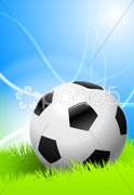 Soccer Ball on Green Field - stock photo