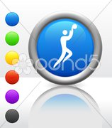 Basketball Icon on Internet Button - stock photo