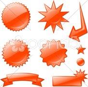 red star burst designs - stock photo