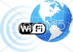 Global Communication with wifi Stock Illustration