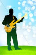 Live Musician on Green Daytime Background Stock Illustration