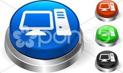 Computer Icon on Internet Button - stock photo