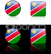 nambia Flag Buttons on White and Black Background - stock illustration