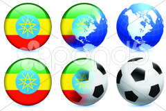 Ethiopia Flag Buttons on White and Black Background Stock Illustration