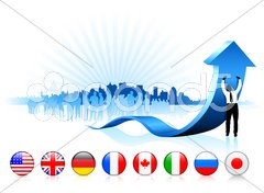 Businessman holding arrow with internet flag buttons Stock Illustration