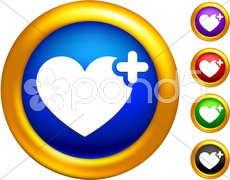 Favorite icon on  buttons with golden borders Stock Illustration
