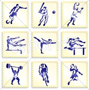 Sports Stamp Collection - stock photo