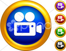 video camera icon on  buttons with golden borders - stock photo