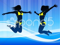 Sexy Young Woman on Abstract Blue Background Stock Illustration