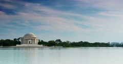 Jefferson Memorial 4K from Across Tidal Basin Washington DC with Clouds Stock Footage