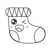Kawaii christmas stocking icon Stock Illustration