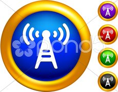 radio tower icon on  buttons with golden borders - stock photo