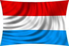 Flag of Luxembourg waving in wind isolated on white Stock Illustration
