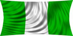 Flag of Nigeria waving in wind isolated on white Piirros