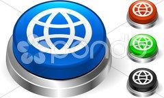 Globe Icon on Internet Button - stock photo