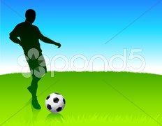 Soccer player on nature park background Stock Illustration