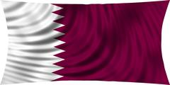 Flag of Qatar waving in wind isolated on white Piirros