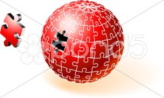 Incomplete Red Globe Puzzle Stock Illustration