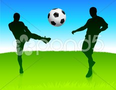 Soccer Team on Nature Park Background Stock Illustration