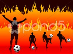 Soccer/Football Player on Hell Fire Background Stock Illustration