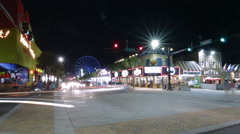 Myrtle Beach Night Street Pan Stock Footage