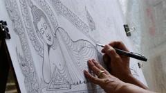 Free hand drawing Buddha Stock Footage
