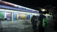 Boardwalk Myrtle Beach Night People Blur Stock Footage