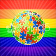 Globe Puzzle for gay Rights Stock Illustration
