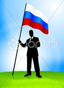 Businessman Leader Holding Russia Flag Stock Illustration