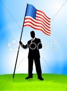Businessman Leader Holding United States Flag Stock Illustration