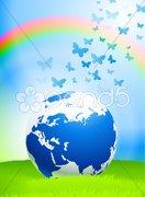 Globe on Nature Background Stock Illustration