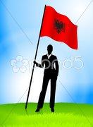 Businesswoman Leader Holding Albania Flag Stock Illustration