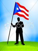 Businessman Leader Holding Puerto Rico Flag Stock Illustration