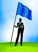 Businesswoman Leader Holding European Union Flag Stock Illustration