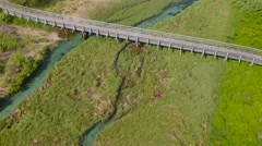 Aerial: Mid Air View of a Stream Under Bridge Stock Footage