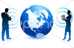 Business couple with globe and internet flag buttons Stock Illustration