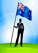 Businesswoman Leader Holding Australia Flag Stock Illustration