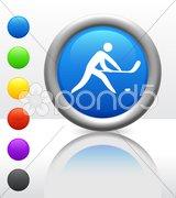 Hockey Icon on Internet Button - stock photo