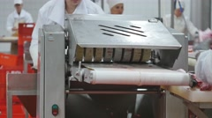 Meat Processing Plant. Raw meat cuts on a industrial conveyor belt. Stock Footage