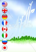 Business Crowd on Internet Flag Buttons Background Stock Illustration