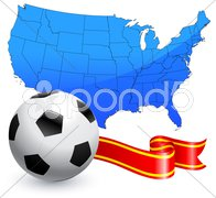 Soccer Ball with Ribbon and USA Map Stock Illustration