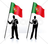 Business silhouettes with waving flag of Portugal Stock Illustration